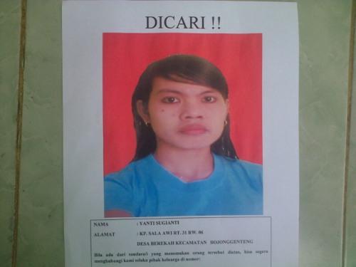 Sugianti (26) warga Kp. Selaawi Rt 31/06 desa Berekah kecamatan Bojonggenteng kabupaten Sukabumi, sudah 6 hari tidak diketahui keberadaannya