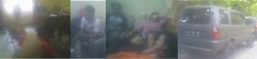Enam orang yang diduga pengedar uang palsu sedang diamankan diruang periksa Reskrim Polres Sukabumi