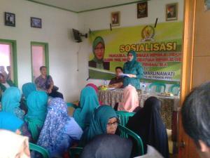 Anggota Komisi X   (DPR-RI) Hj. Reni Marlinawati saat memberikan wawasan 4 pilar kebangsaan di desa Wanajaya kec. Cisolok