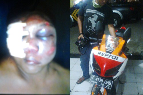 Pelaku curanmor di Citepus Bonyok dihakimi masa. Kendaraan jenis Honda CBR yang diamankan pihak Polsek Palabuhanratu ( Photo : Palabuhanratu Online)
