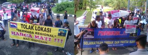 Unjuk rasa penolakan pelabuhan pengumpan regional di gedung DPRD Kabupaten Sukabumi (Palabuhanratu Online)