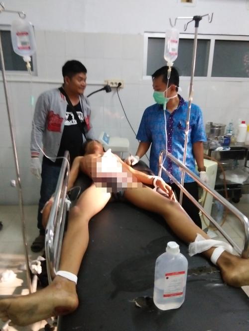 Salah satu korban yang dirawat di ruang IGD RSUD Palabuhanratu (Photo : Palabuhanratu Online)
