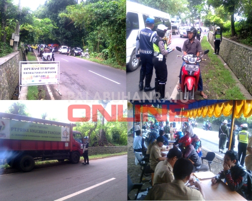 Operasi gabungan yang terdiri Dispenda wilayah Palabuhanratu bersama Satlantas Polres Sukabumi, Polisi Militer dan Dishub Kabupaten Sukabumi. Foto : Palabuhanratu Online